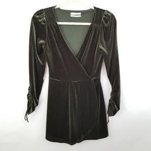Urban Outfitters Olive Green Velvet Romper XS